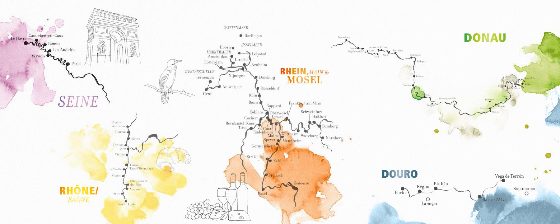 A-ROSA Fahrtgebiete