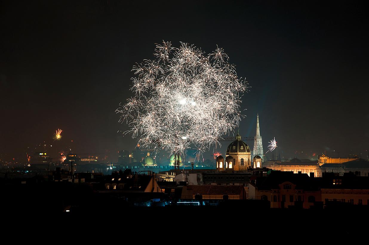 Feuerwerk zum Jahreswechsel in Wien